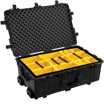 Black Pelican 1650 Case with Yellow Padded Dividers