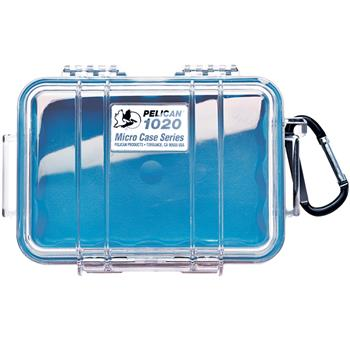 Clear Pelican 1020 Micro Case with Blue Liner