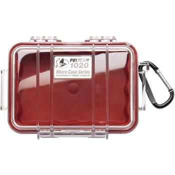 Clear Pelican 1020 Micro Case with Red Liner