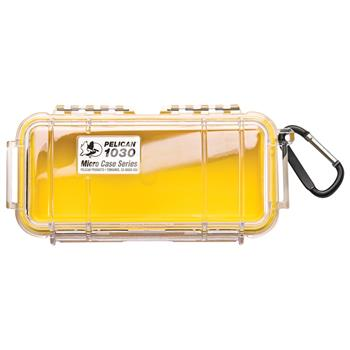 Clear Pelican 1030 Micro Case with Yellow Liner