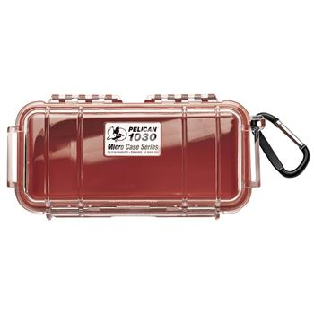Clear Pelican 1030 Micro Case with Red Liner