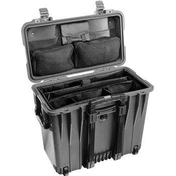 Black Pelican 1440 Top Loader Case with Office Dividers & Lid Organizer