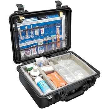Black Pelican 1500EMS Case with Padded Dividers and Lid Organizer (Contents Shown not Included)