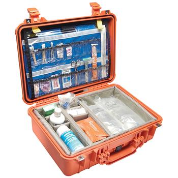Orange Pelican 1500EMS Case with Padded Dividers and Lid Organizer (Contents Shown not Included)