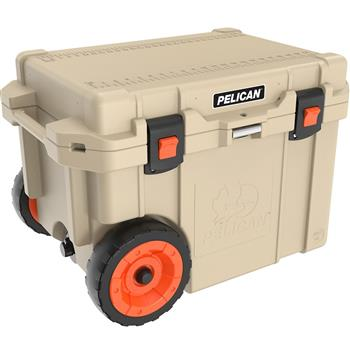 Tan Pelican™ 45 Quart Elite Cooler with wheels