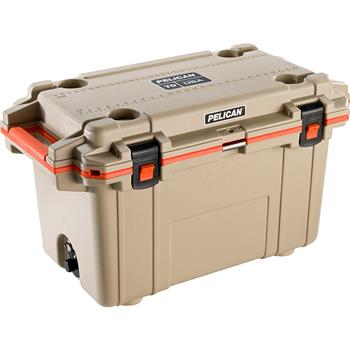 Tan Pelican™ 70 Quart Elite Cooler with Orange Trim