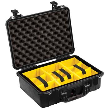 Black Pelican™ 1500 Case with yellow padded dividers