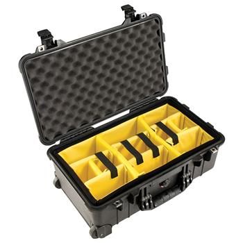 Black Pelican™ 1510 Carry On Case with yellow padded dividers
