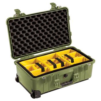 Olive Drab Pelican™ 1510 Carry On Case with yellow padded dividers