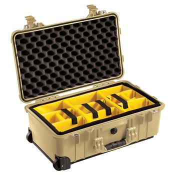 Desert Tan Pelican™ 1510 Carry On Case with yellow padded dividers