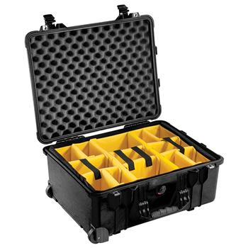 Black Pelican™ 1560 Case with Yellow padded dividers