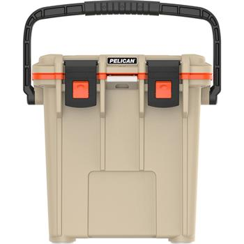 Tan Pelican™ 20 Qt Elite Cooler with Orange Trim