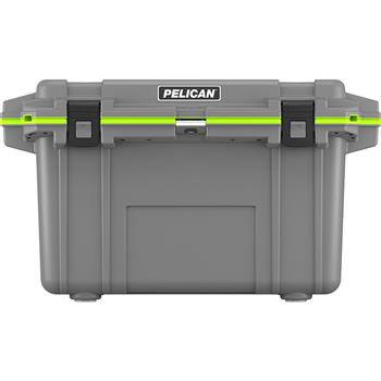 Dark Gray Pelican™ 70 Quart Elite Cooler with Green Trim